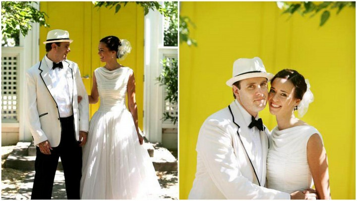 Bride and Groom in front of yellow doors