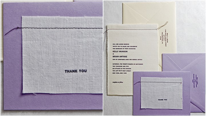 Purple stitched wedding stationery