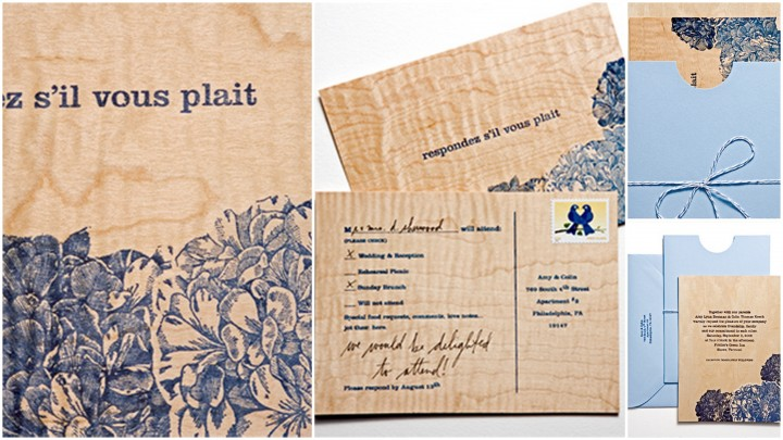 blue printed on wood invite