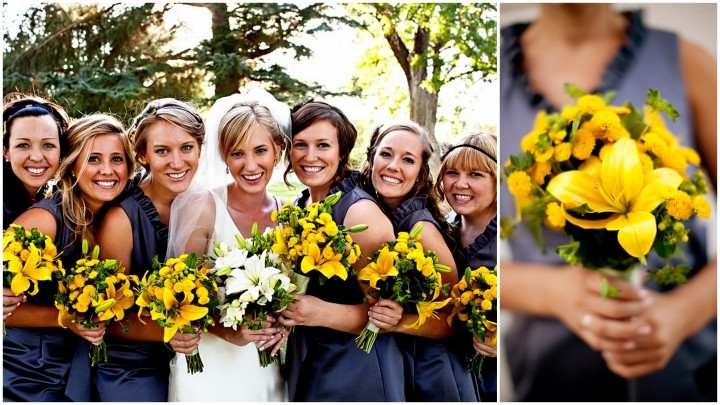 bridesmaids and their bouquets