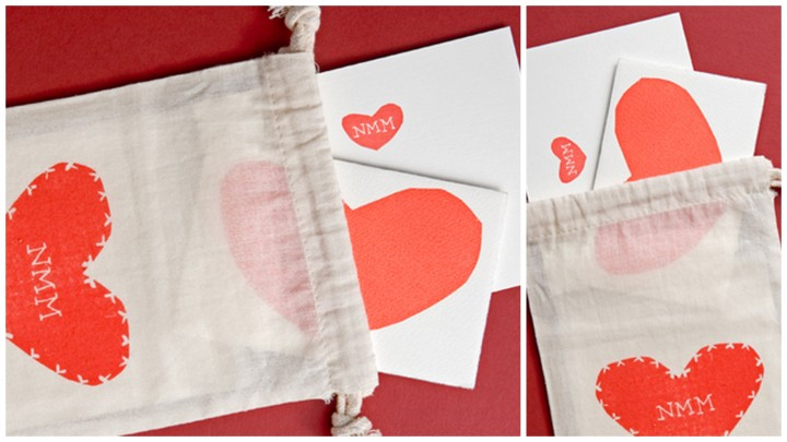 hearts cards in linen bags