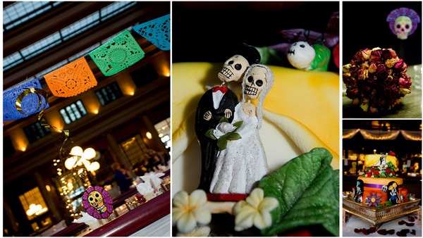day of the dead wedding collage
