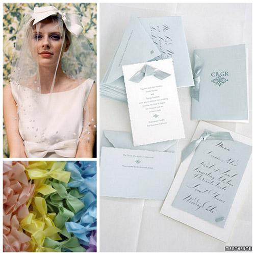 bows bride and invites