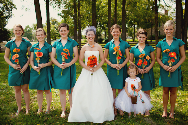 Orange And Teal Wedding With Bowties And A Chartiable