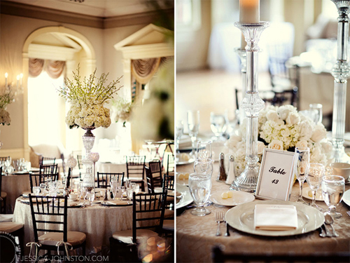 Tall white centerpieces Photo by Jessica Johnston