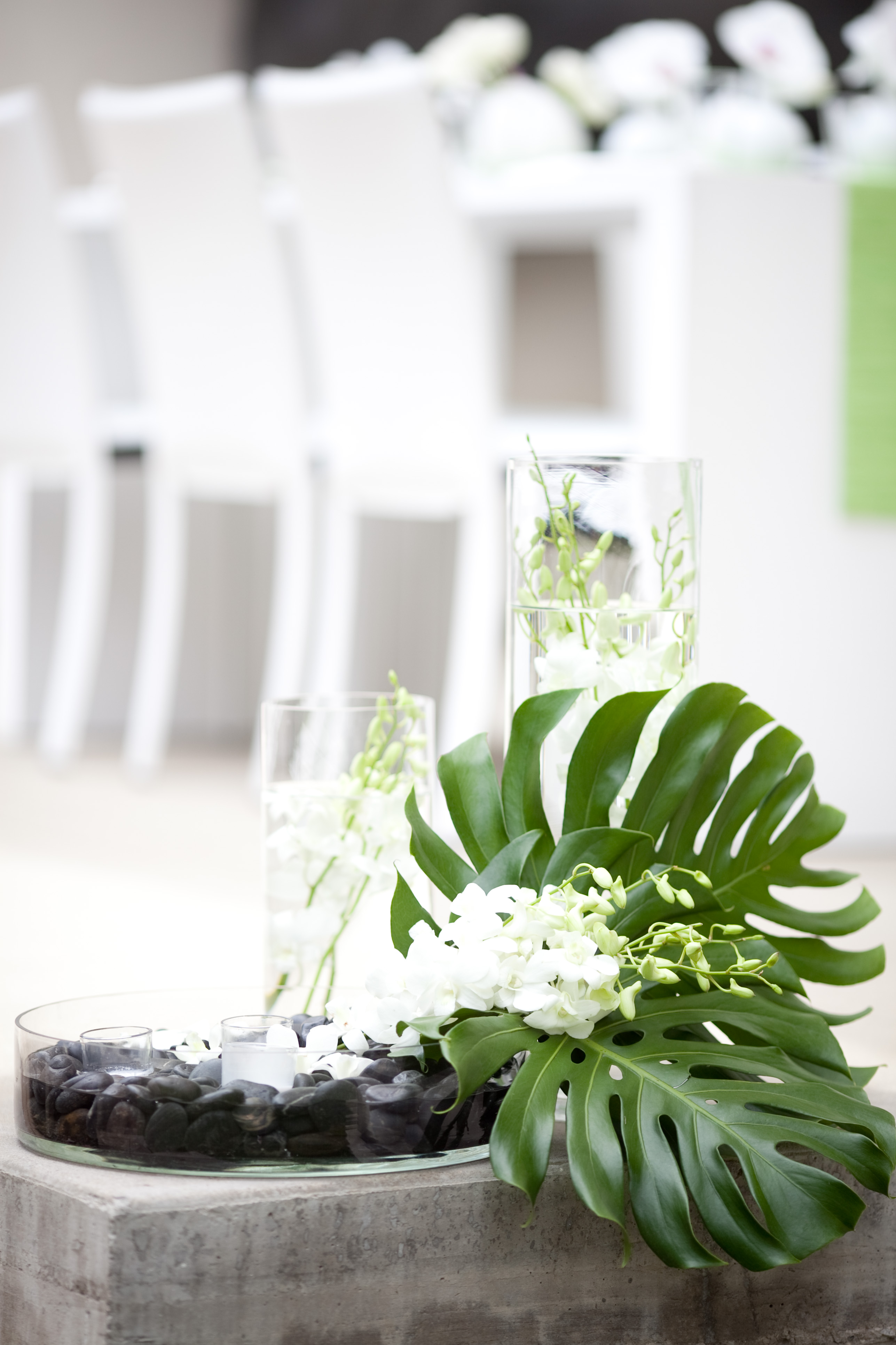 Modern Green Centerpieces : Yellow mint and white summer spa bridal shower