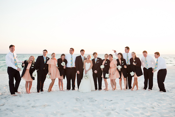 Classic White Mint And Peach Florida Beach Wedding