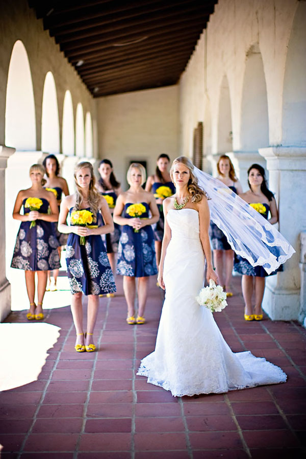 Yellow Patterned Bridesmaid Dresses 14