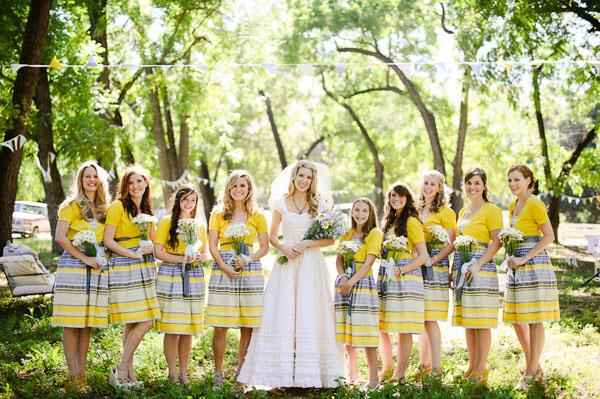 Yellow Patterned Bridesmaid Dresses - Wedding Short Dresses