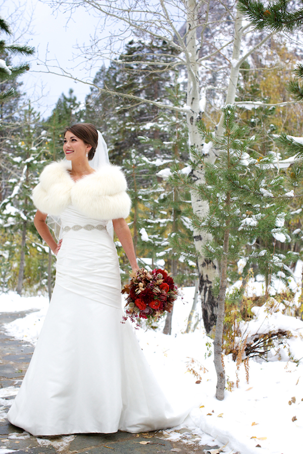 Snowy lake tahoe wedding inspired by this for Winter shawls for wedding dresses