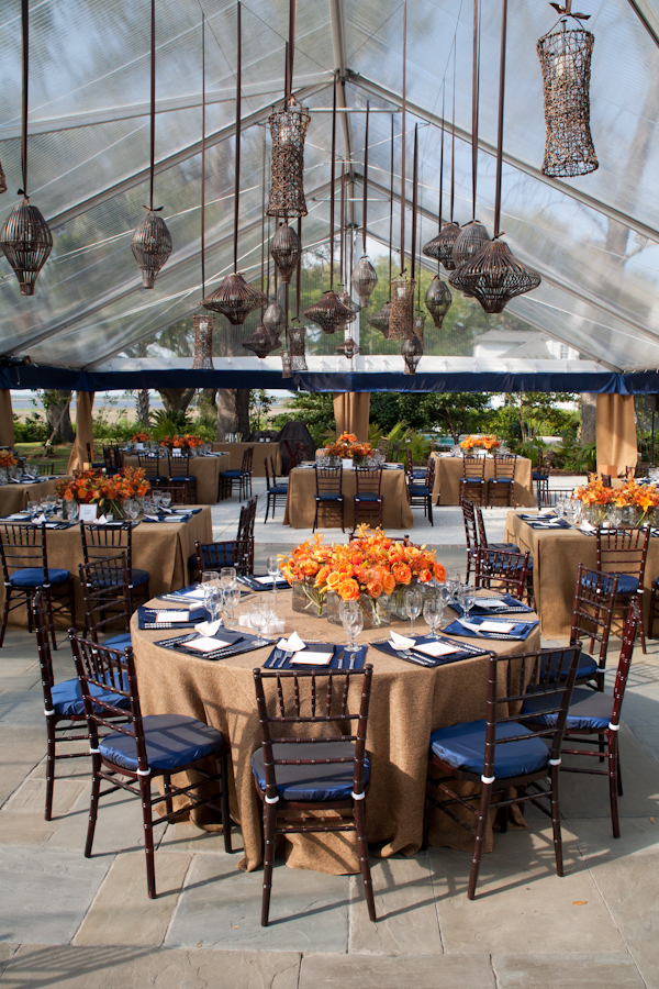 Orange and blue southern rehearsal dinner inspired by this - Orange and blue decor ...