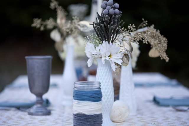 winter milk glass wedding