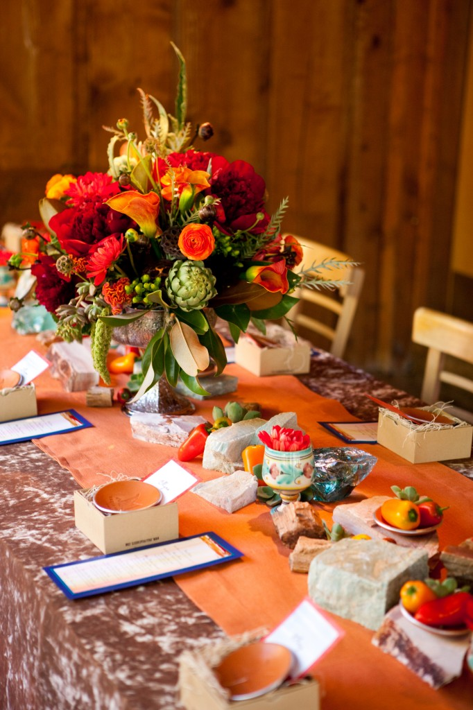 modern rustic orange wedding
