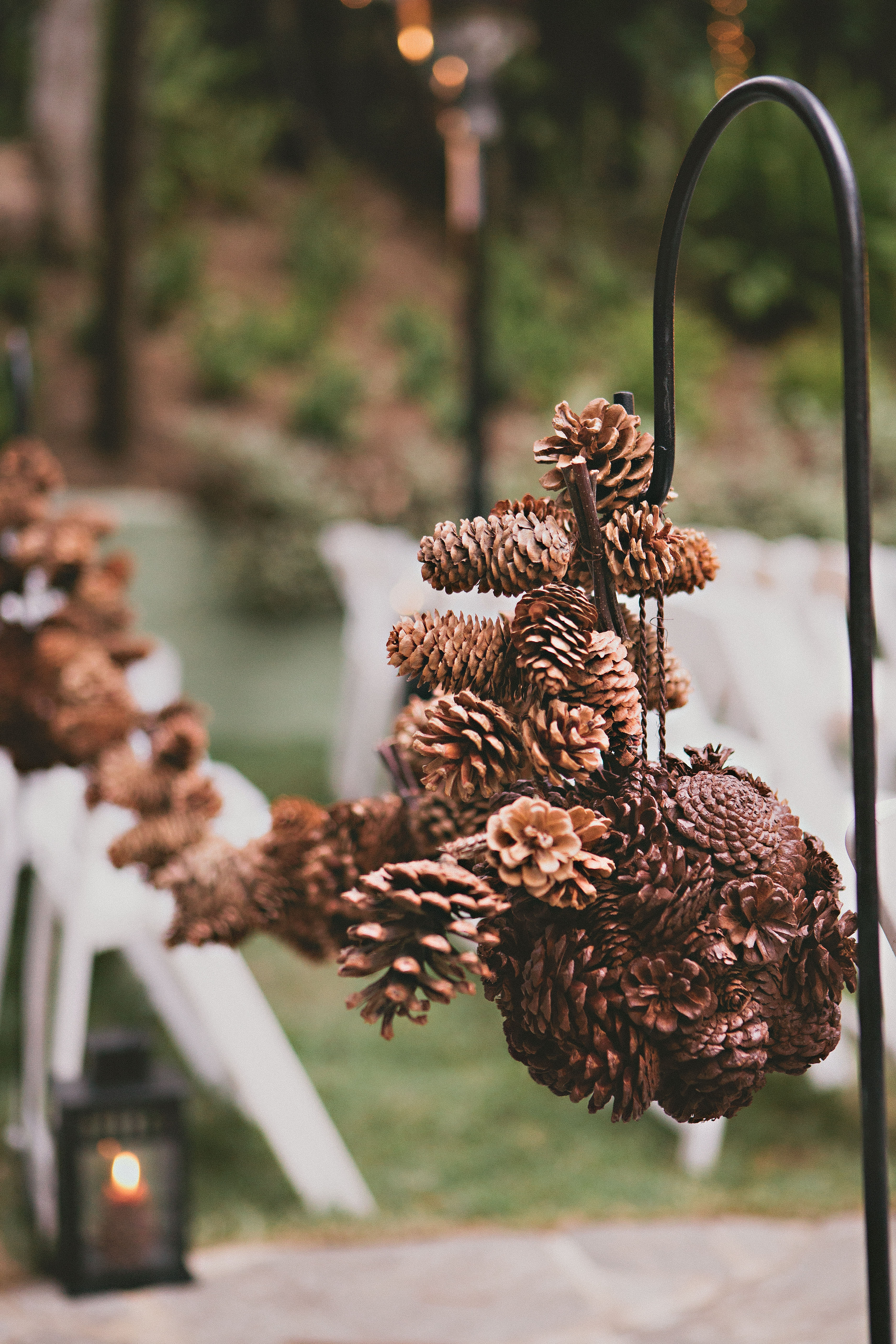 Southern california pine cone wedding inspired by this for Pinecone centerpieces