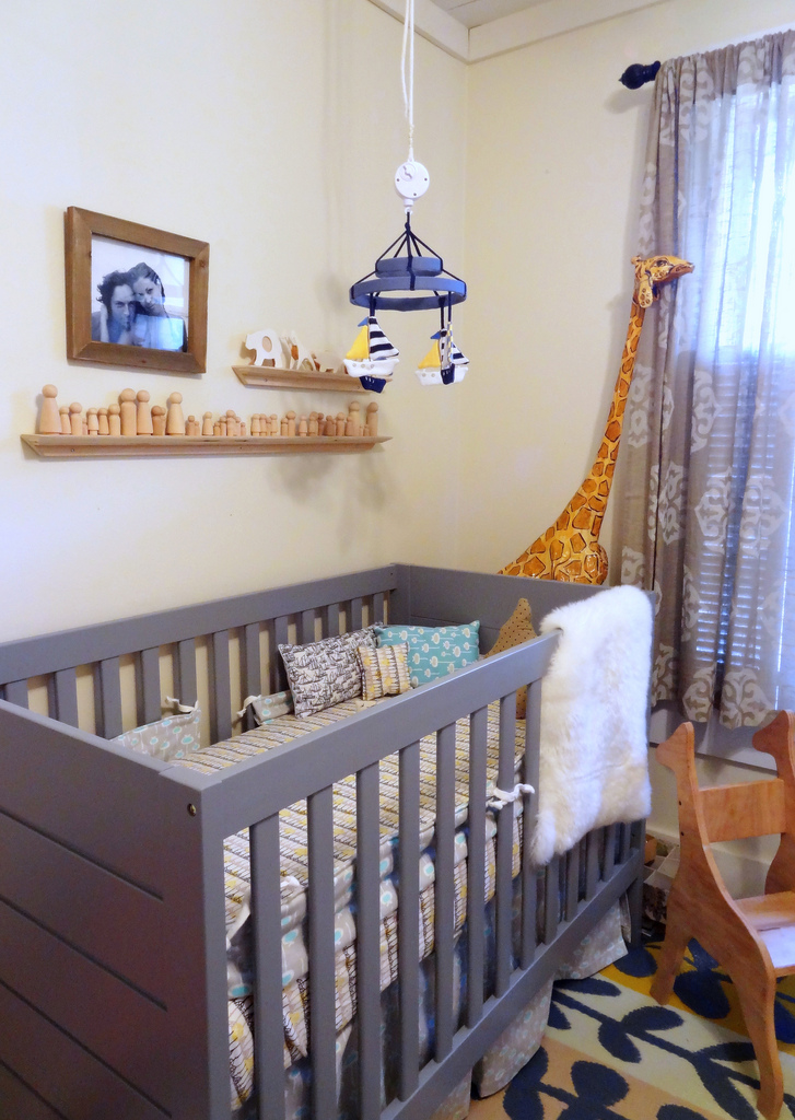 Modern baby boy nursery inspired by this for Modern unisex nursery ideas