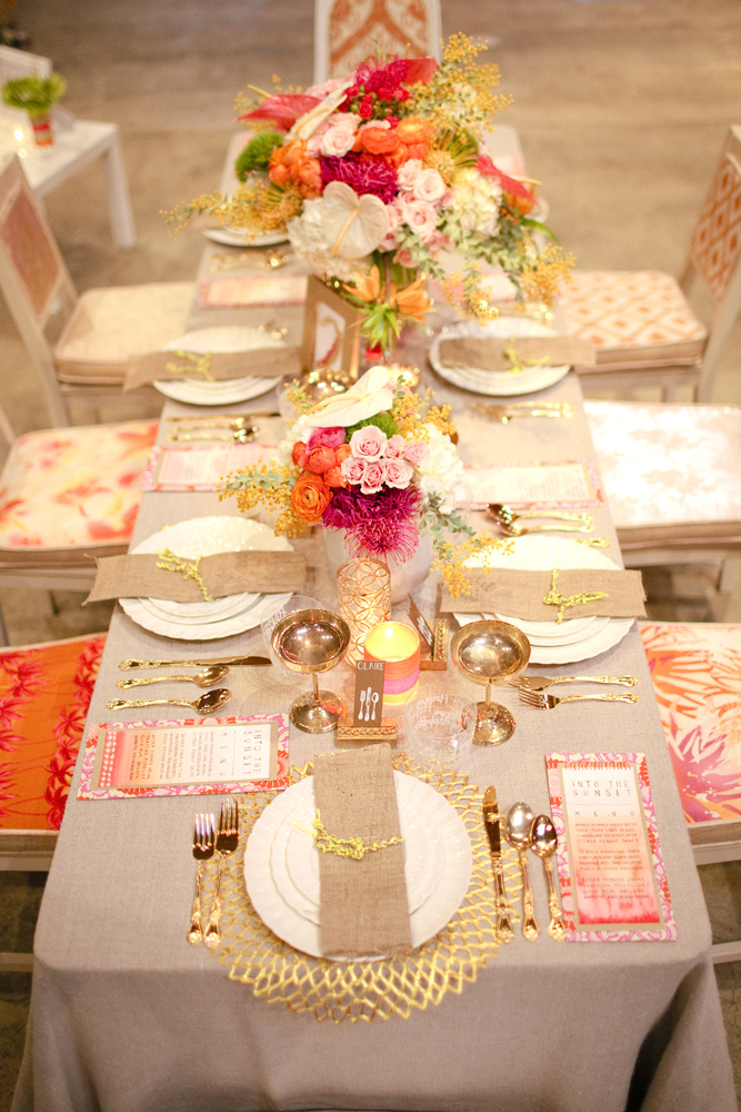 pink gold wedding table reception centerpiece