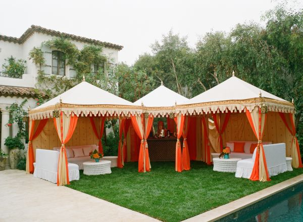 Post wedding coral and turquoise brunch inspired by this for Outdoor party tent decorating ideas