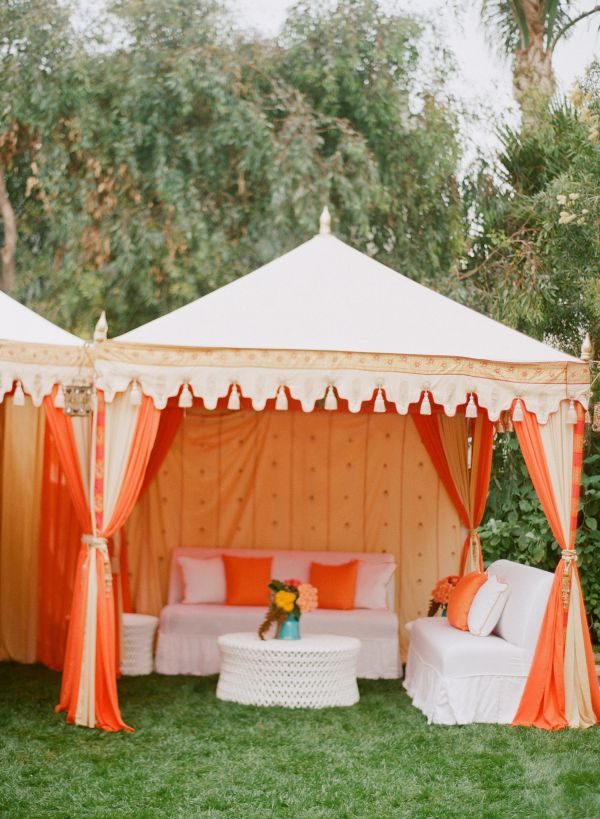 Post wedding coral and turquoise brunch inspired by this - Decorating a canopy tent ...