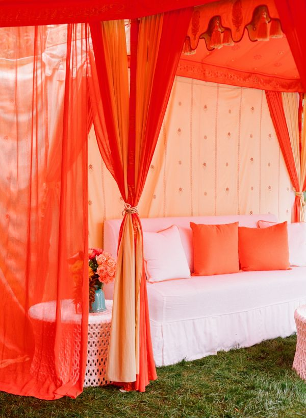 Coral colored sheer curtains
