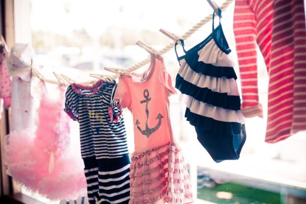 Love The Display Of Nautical Pink And Navy Baby Clothes On The Clothespin  ...