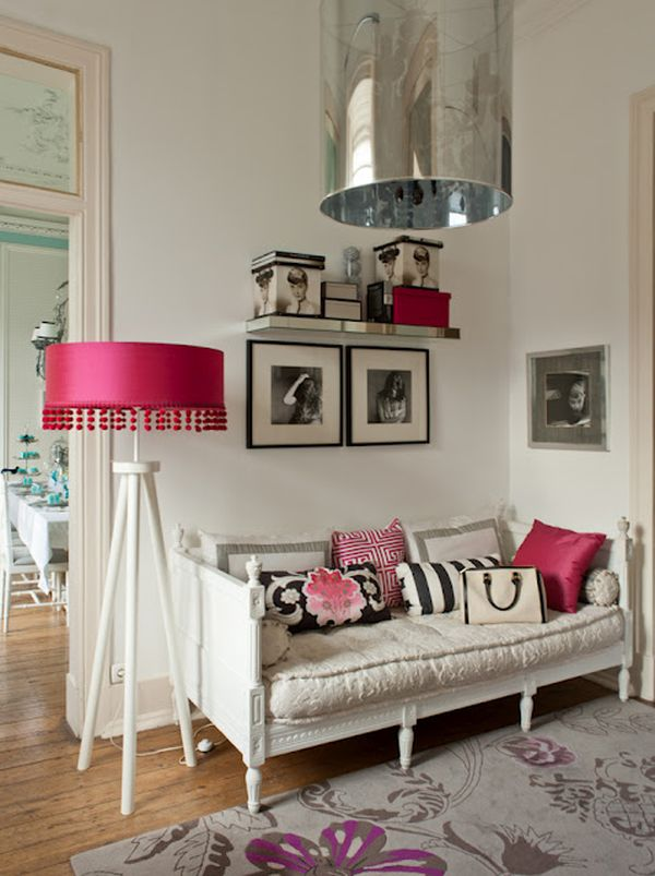 Glamorous home inspired by this for Hot pink living room ideas