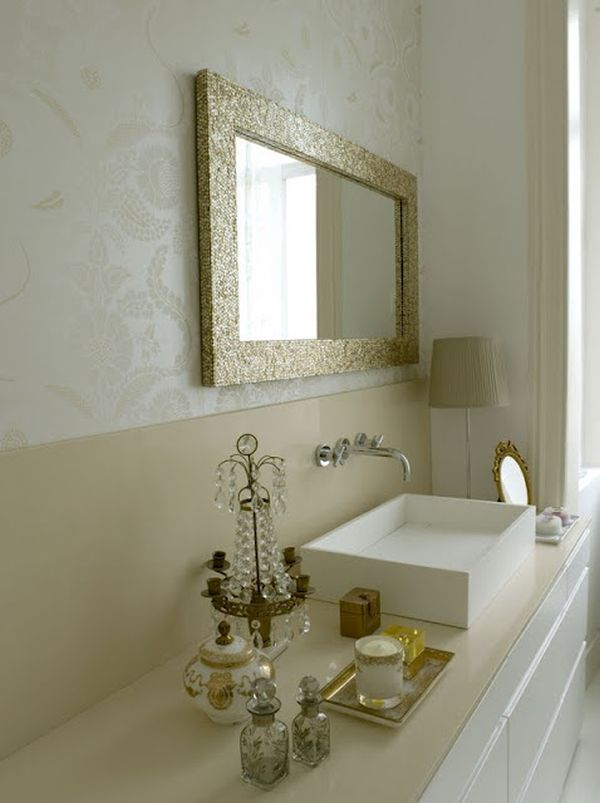 Glamorous home inspired by this for Cream and gold bathroom accessories