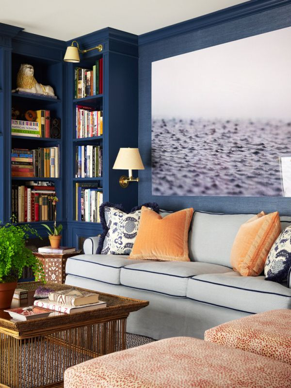 Lower 5th avenue new york city home inspired by this for Blue and peach bedroom ideas