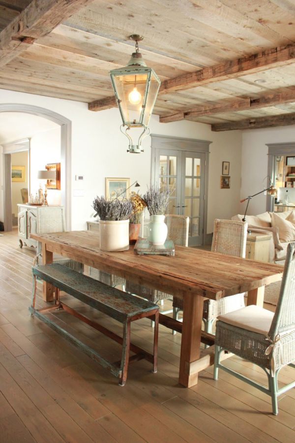 gorgeous wood dining table and ceilings