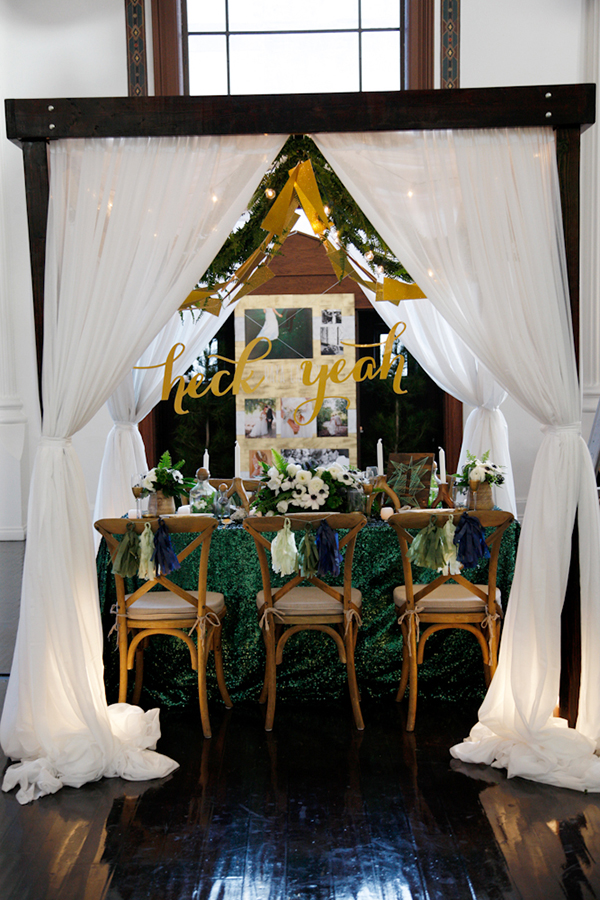 The Cream Event Los Angeles, white curtains, green sequin linens, wood chairs, jl designs, jesi haack