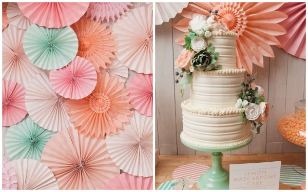Inspired By This Peach Pink And Mint Bridal Shower