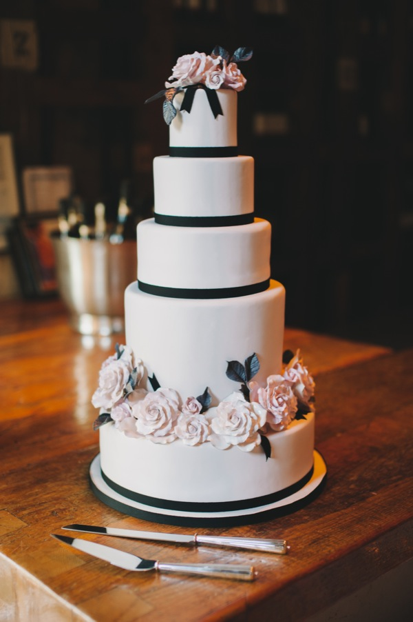 Inspired by This Black and White Modern Loft Wedding by Mango Studios - wedding cake
