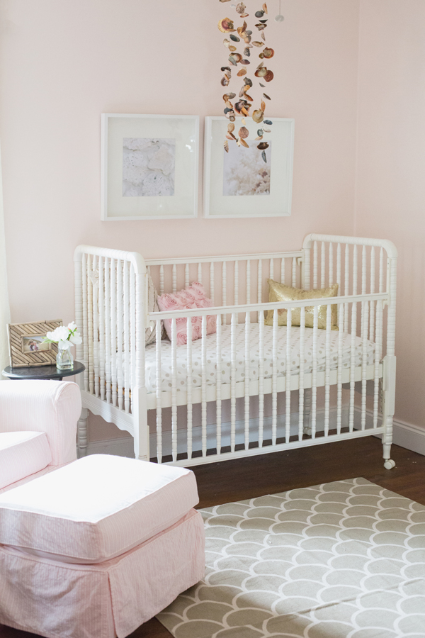 Girly sea inspired nursery pink grey shells gold crib frames be