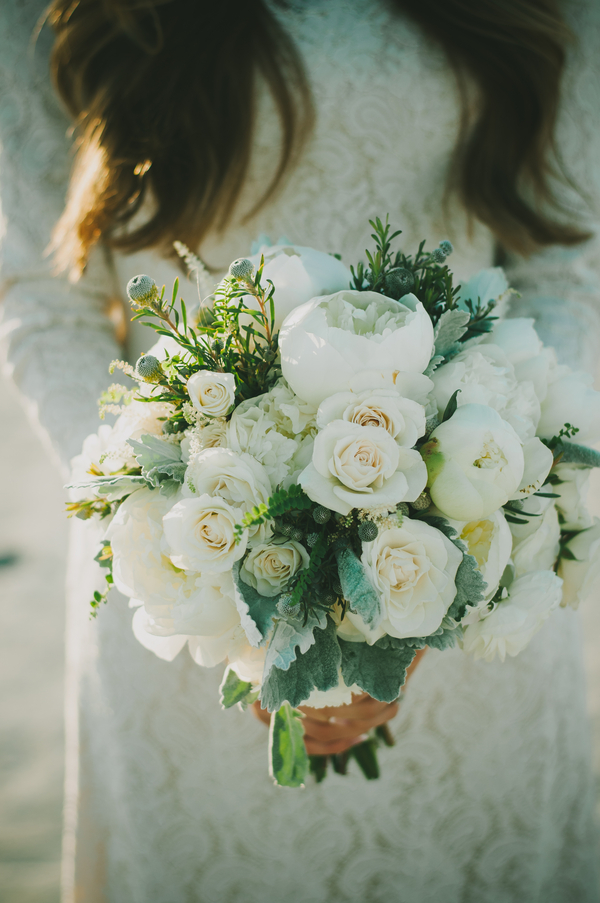 Mountain Wedding, white bouquet, lace dress