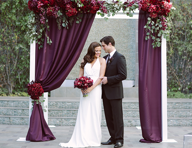 white and plum chuppah arbor - Ultrapom Event Rental