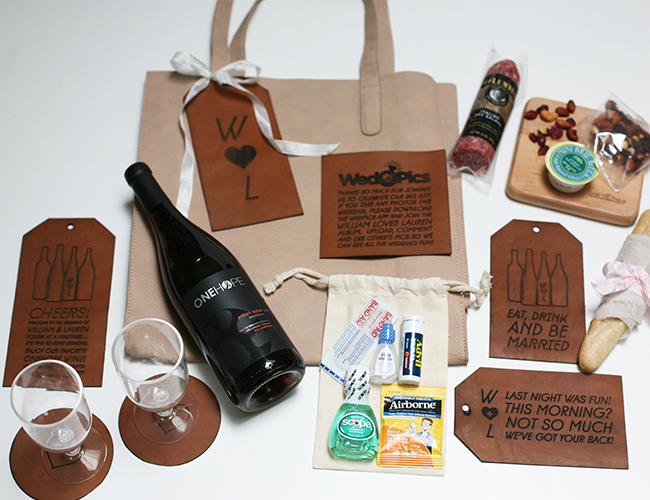 What To Put In Wedding Gift Bags For Hotel Guests: DIY Vineyard Wedding Welcome Bag