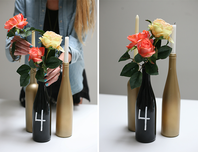 Diy wine bottle centerpieces inspired by this lifestyle blog for How to make flower vases out of wine bottles