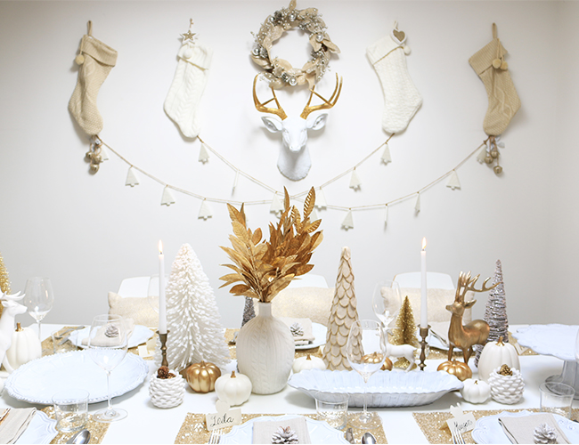 White and Gold Holiday Luncheon Party - Inspired By This