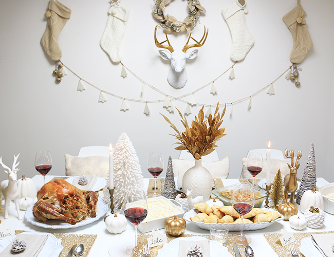 White and Gold accents holiday tablescape decoration