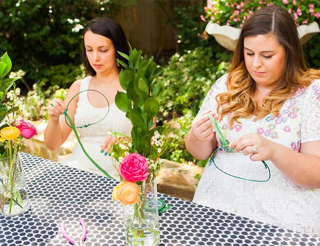 Flower Crown Crafting Bridal Luncheon