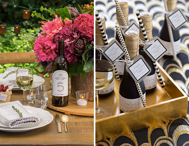 Diy champagne bottle wedding favors inspired by this - Take chance black themed bathroom ...